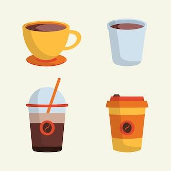 Ensemble d'une tasse de café dans une illustration vectorielle de tasse différente