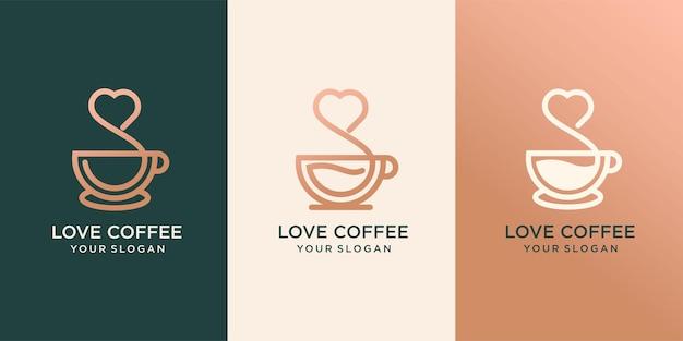Ensemble de tasse de café avec de la fumée en forme de coeur, impression de vêtements, t-shirt, emblème ou création de logo, illustration vectorielle. dessin au trait continu.