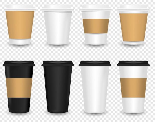 Ensemble de tasse à café en papier vierge réaliste de vecteur isolé.