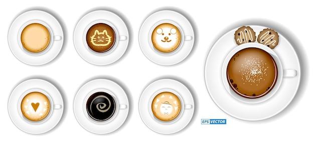 Ensemble de tasse à café réaliste cappuccino latte isolé ou vue de dessus de l'assortiment de tasses à café