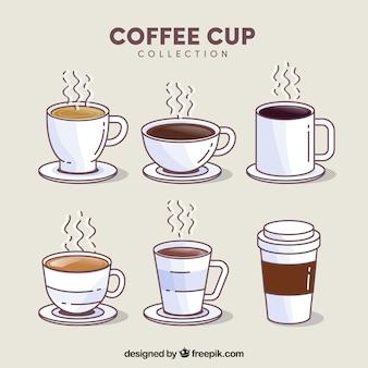 Ensemble de tasse à café de six avec de la vapeur