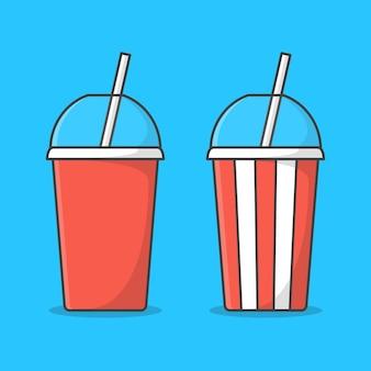 Ensemble de tasse de soda avec paille isolé sur bleu