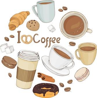 Ensemble de tasses à café dessinées à la main et de pâtisseries sucrées