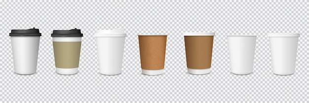 Ensemble de tasses à café en papier sur fond transparent