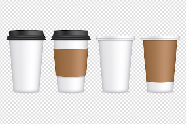 Ensemble de tasses à café en papier sur transparent