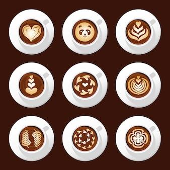 Ensemble de tasses à café vue de dessus, latte art