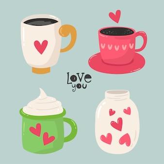Ensemble de tasses pour les amoureux