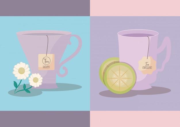 Ensemble De Tasses à Thé Au Citron Et à La Camomille Vecteur Premium