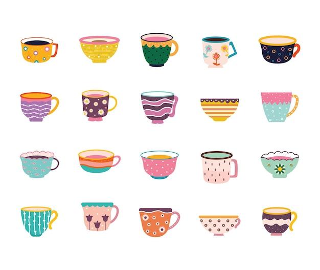 Ensemble de tasses à thé et café sur fond blanc