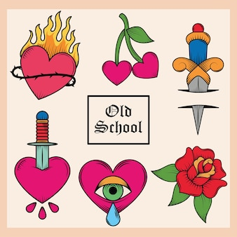 Ensemble de tatouage à l'ancienne