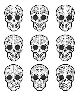 Ensemble de tatouage crâne en sucre calavera