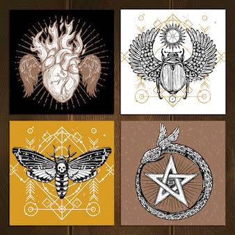 Ensemble de tatouage occulte