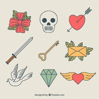 Ensemble de tatouages dessinés à la main