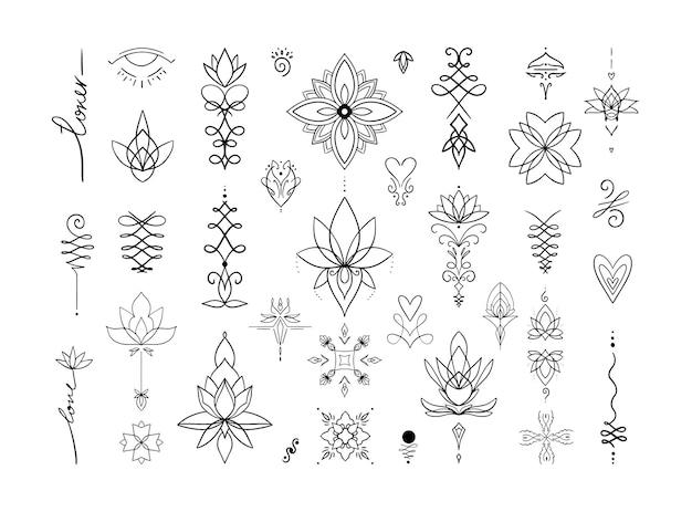 Un ensemble de tatouages et de motifs pour des projets et des designs créatifs.