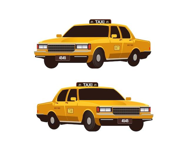 Ensemble de taxis jaunes rétro