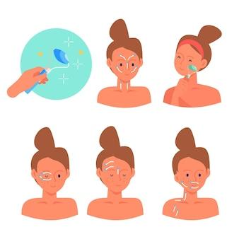 Ensemble de techniques de massage facial dessinés à la main