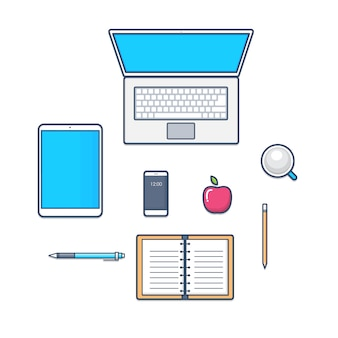 Ensemble de technologie de bureau avec ordinateur portable, smartphone, ordinateur portable. icônes de conception de ligne plate. illustration.