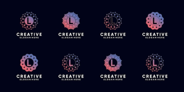 Ensemble de technologie de conception de logo monogramme bundle lettre initiale l avec dessin au trait et style de point. vecteur premium