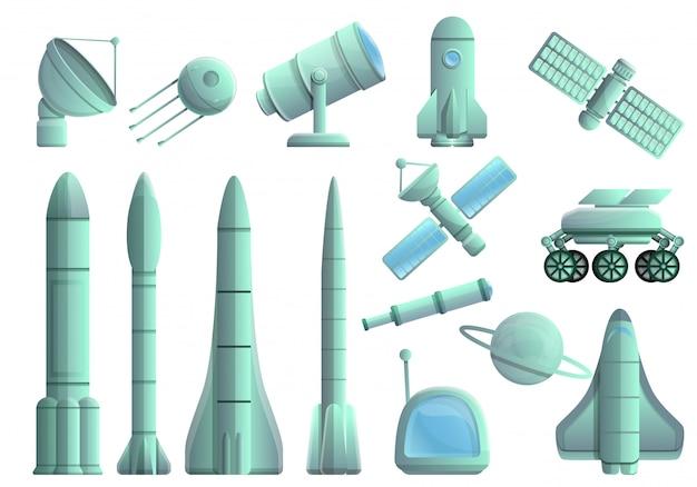 Ensemble de technologies de recherche spatiale, style cartoon