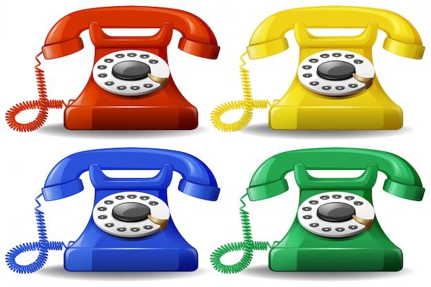 Un ensemble de téléphone classique coloré