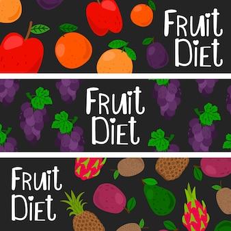 Ensemble de templztes de bannière de régime de fruits