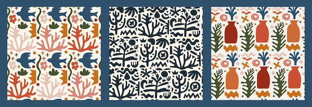 Ensemble tendance de motifs sans couture avec divers gribouillis, formes colorées et objets authentiques. fond d'illustration vectorielle moderne abstrait. toile de fond d'art contemporain pour l'impression, le textile.