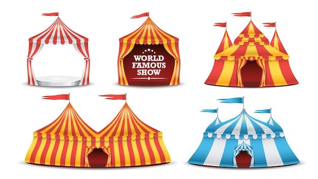 Ensemble de tente de cirque. fête foraine multicolore