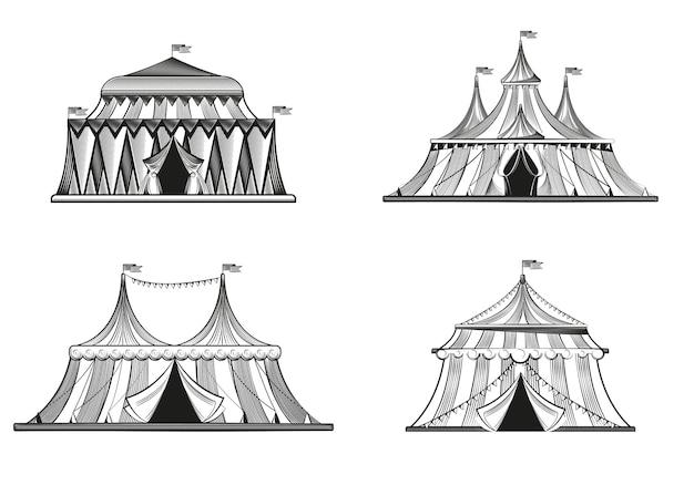 Ensemble de tentes de cirque dans le style de gravure isolé sur blanc