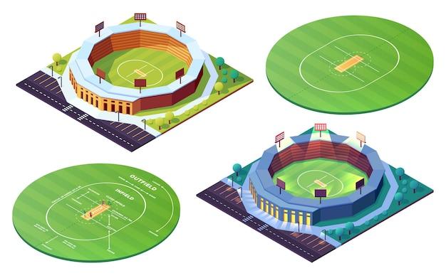 Ensemble de terrain de cricket en cercle isolé ou de stades de nuit de jour sur terrain en herbe pour le sport de cricket