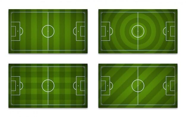 Ensemble de terrains de football avec des motifs différents.