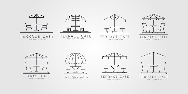 Ensemble de terrasse icône ligne art logo vector illustration minimaliste design