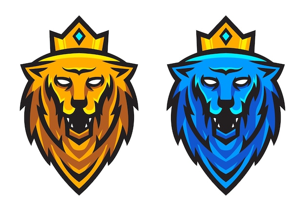 Ensemble de tête de lion avec illustration vectorielle de couronne