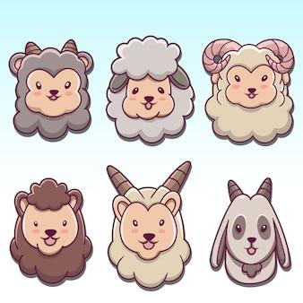 Ensemble de tête de mouton de chèvre drôle