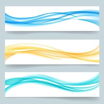 Ensemble d'en-têtes ou de bannières de ligne ondulée lisse swoosh abstraite. papier cartonné, mouvement de courbe