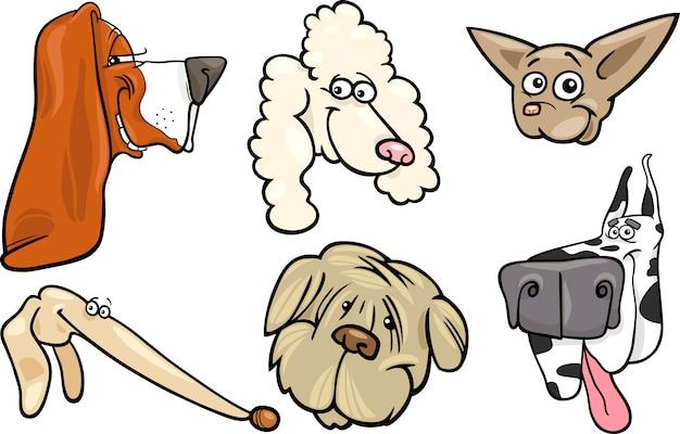 Ensemble de têtes de chiens de dessin animé