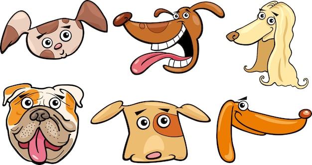 Ensemble de têtes de dessin animé drôle de chiens