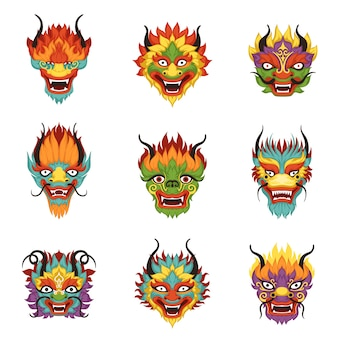 Ensemble de têtes de dragon chinois, symbole du nouvel an chinois