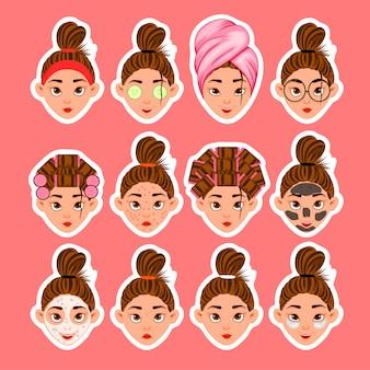 Ensemble de têtes de femmes et de soins de beauté