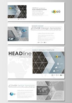 Ensemble d'en-têtes de médias sociaux et d'e-mails. modèle de conception de la couverture, molécules polygonales