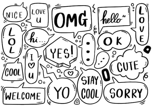 Ensemble de texte de bulle de dialogue mignon dessiné à la main dans un style doodle