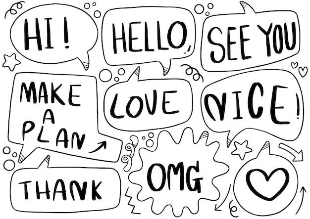 Ensemble de texte de bulle de discours mignon dans un style doodle