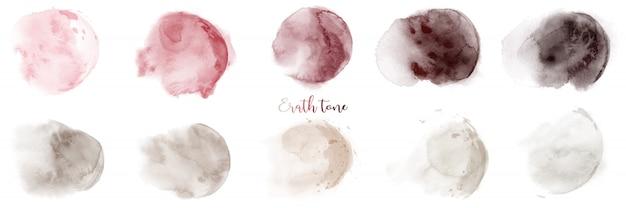 Ensemble de texture aquarelle ton terre rouge-brun peint à la main