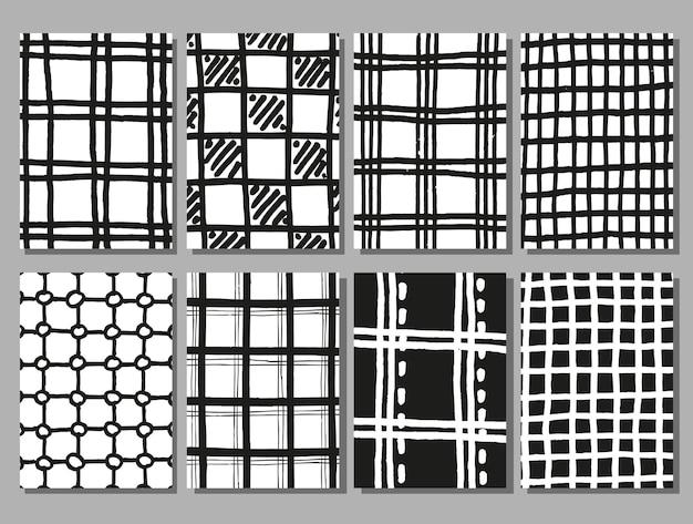 Ensemble de texture damier dessin à la main