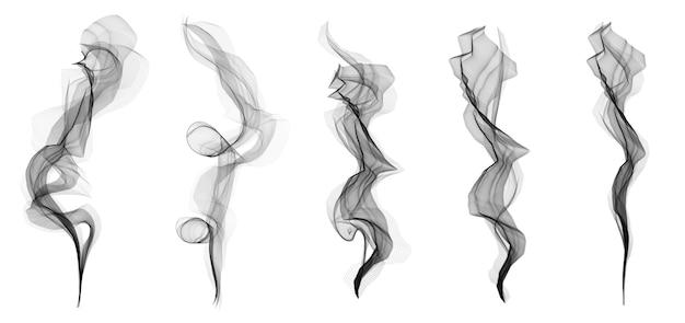 Ensemble de texture délicate vagues de fumée de cigarette blanche.