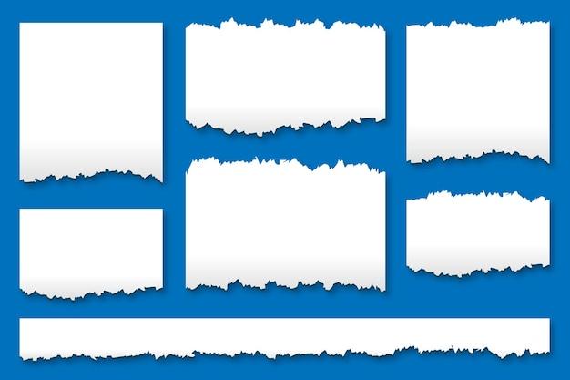 Ensemble de texture de feuilles de papier déchirées déchirées