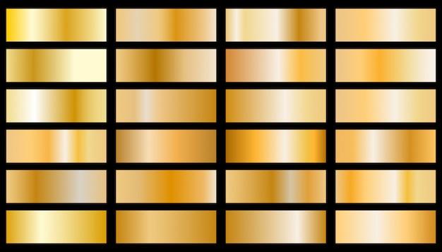 Ensemble de texture métallique chrome doré. dégradé métallique doré brillant