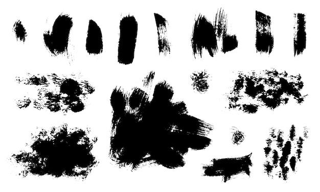 Ensemble de textures abstraites faites avec des coups de pinceau secs. monochrome dessiné à la main.