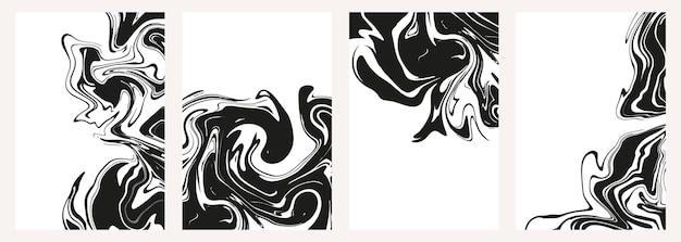 Ensemble de textures abstraites en marbre noir ou époxy sur fond blanc. imprime avec des taches d'encre liquide élégantes et graphiques. arrière-plans à la mode pour les conceptions de couverture, les invitations, les étuis, le papier d'emballage.