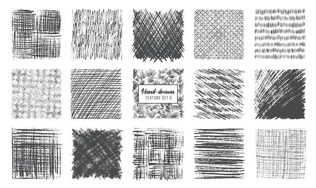 Ensemble de textures de crayons de croquis effet de hachure de stylo noir scribble craie grunge vecteur à main levée