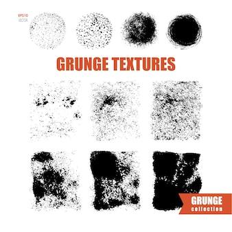 Ensemble de textures grunge et de demi-teintes afflige le vecteur abstrait de textures rondes et carrées